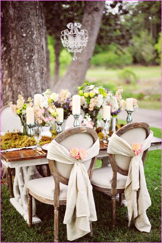 Shabby chic tables and chairs wedding