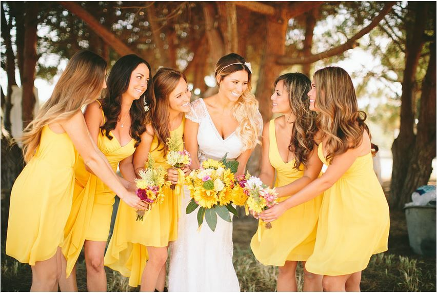Dresses for bridesmaids and friends yellow